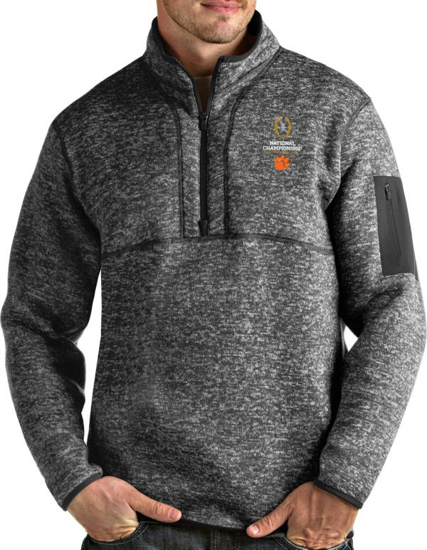 Antigua Men's 2019-20 College Football National Championship Bound Clemson Tigers Grey Fortune Pullover Jacket product image