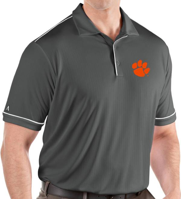 Antigua Men's Clemson Tigers Grey Salute Performance Polo product image