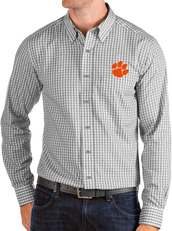 Antigua Men's Clemson Tigers Grey Structure Button Down Long Sleeve Shirt product image