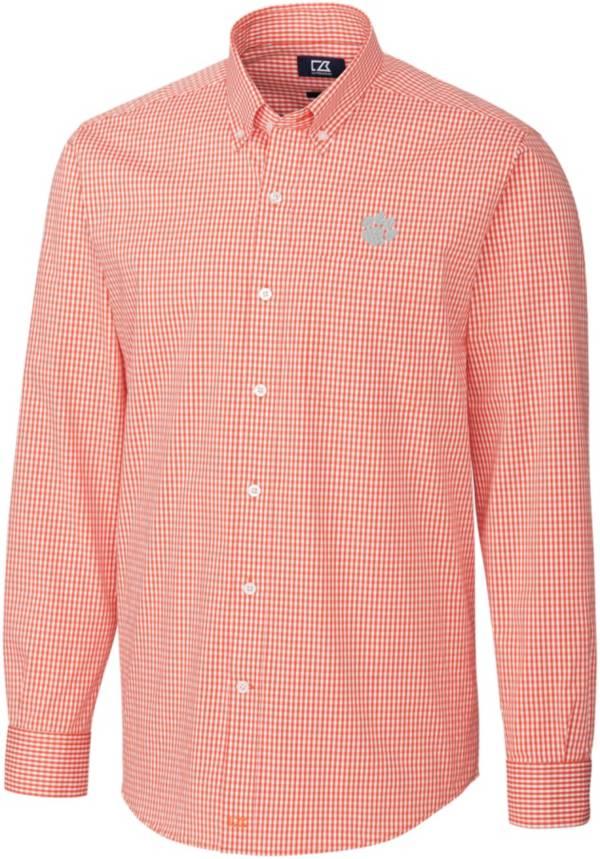 Cutter & Buck Men's Clemson Tigers Orange Anchor Gingham Long Sleeve Button Down Shirt product image