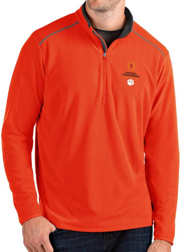 Antigua Men's 2019-20 College Football National Championship Bound Clemson Tigers Orange Glacier Quarter-Zip Shirt product image
