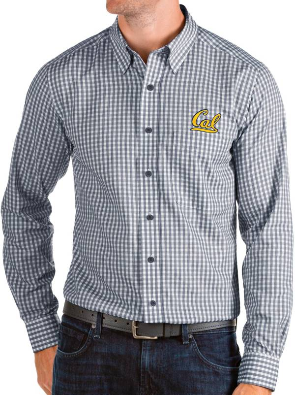 Antigua Men's Cal Golden Bears Blue Structure Button Down Long Sleeve Shirt product image