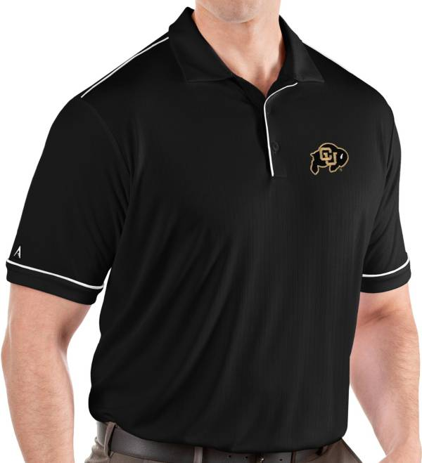 Antigua Men's Colorado Buffaloes Salute Performance Black Polo product image