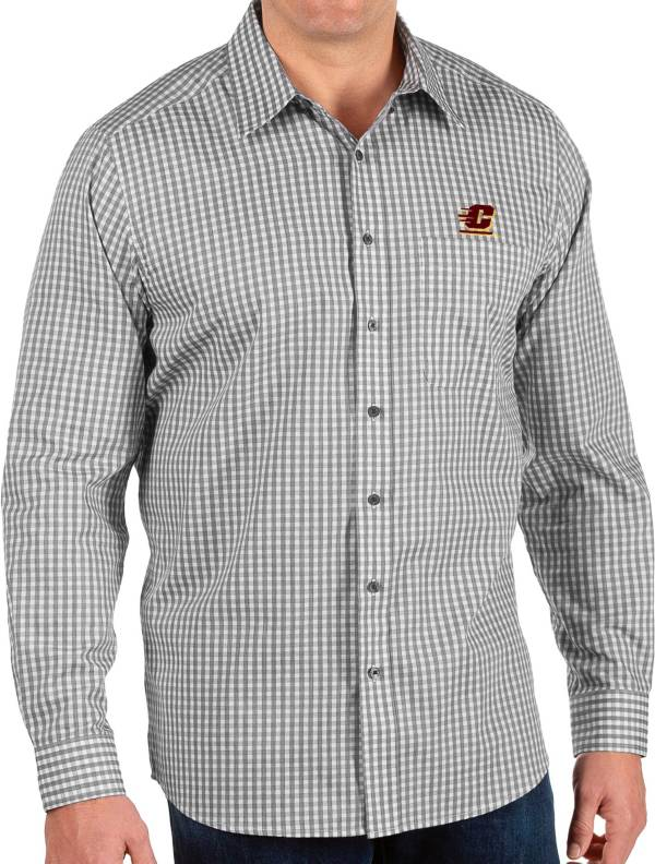 Antigua Men's Central Michigan Chippewas Structure Button Down Long Sleeve Black Shirt product image
