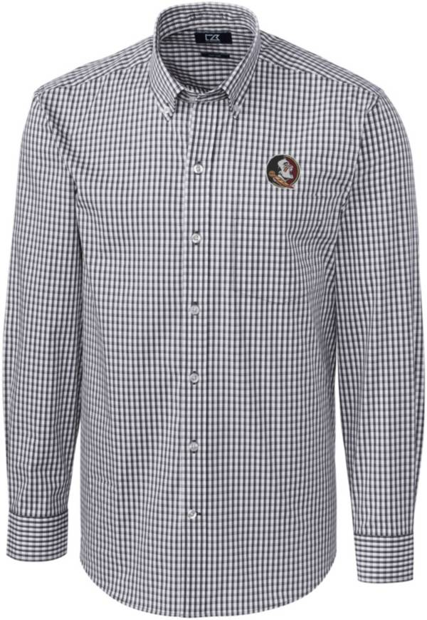 Cutter & Buck Men's Florida State Seminoles Grey Stretch Gingham Long Sleeve Button Down Shirt product image