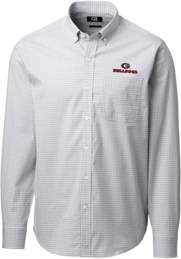 Cutter & Buck Men's Georgia Bulldogs Grey Anchor Gingham Long Sleeve Button Down Shirt product image