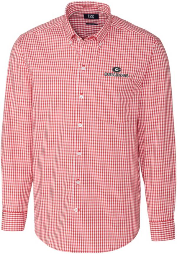 Cutter & Buck Men's Georgia Bulldogs Red Stretch Gingham Long Sleeve Button Down Shirt product image