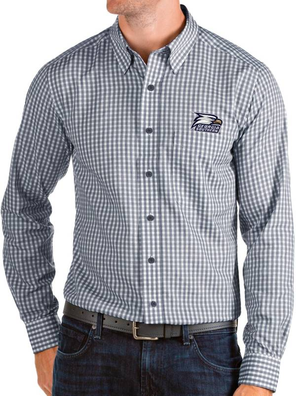 Antigua Men's Georgia Southern Eagles Navy Structure Button Down Long Sleeve Shirt product image