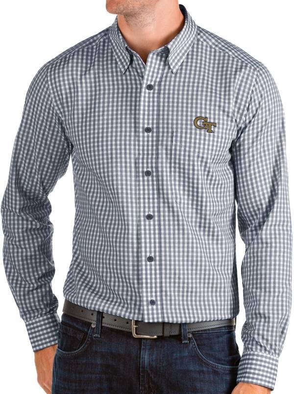 Antigua Men's Georgia Tech Yellow Jackets Navy Structure Button Down Long Sleeve Shirt product image