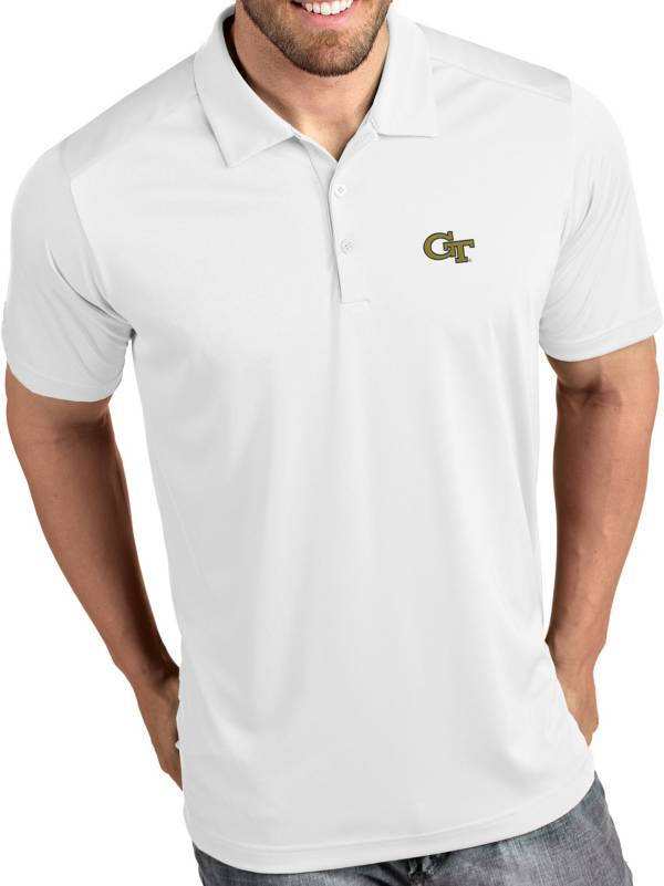 Antigua Men's Georgia Tech Yellow Jackets Tribute Performance White Polo product image
