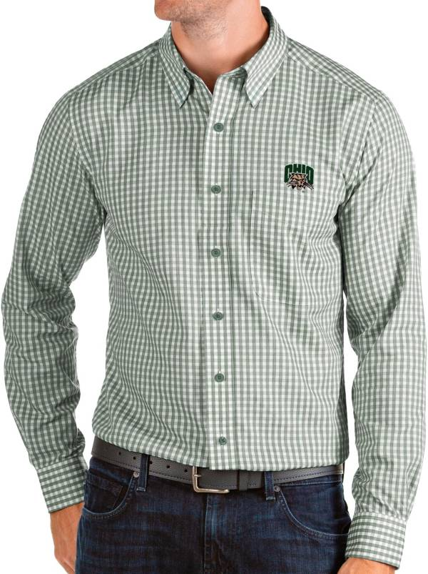 Antigua Men's Ohio Bobcats Green Structure Button Down Long Sleeve Shirt product image