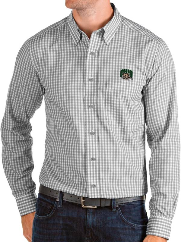 Antigua Men's Ohio Bobcats Grey Structure Button Down Long Sleeve Shirt product image