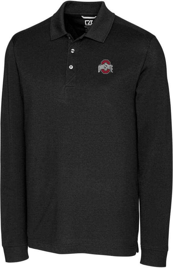 Cutter & Buck Men's Ohio State Buckeyes Advantage Long Sleeve Black Polo product image