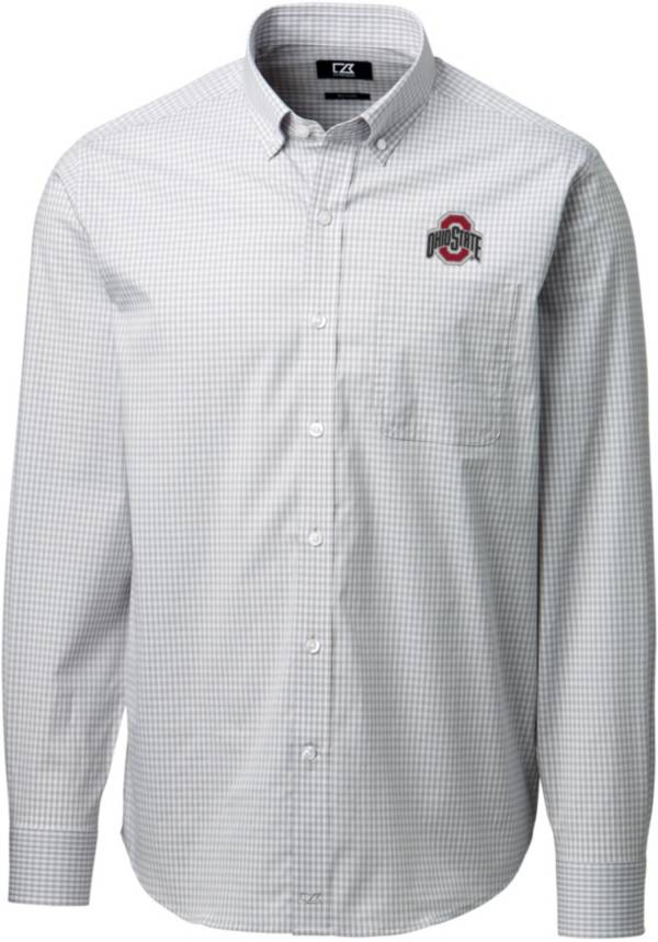 Cutter & Buck Men's Ohio State Buckeyes Gray Anchor Gingham Long Sleeve Shirt product image