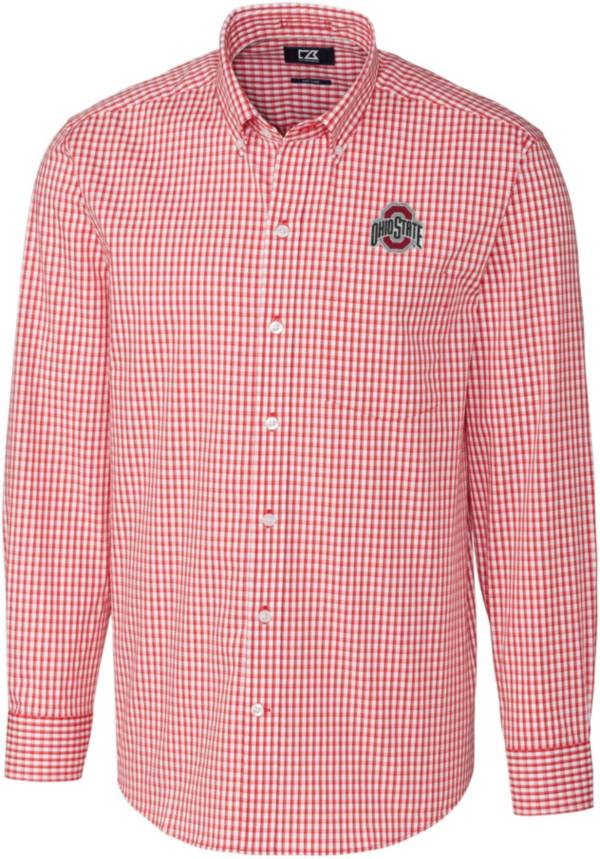 Cutter & Buck Men's Ohio State Buckeyes Scarlet Stretch Gingham Long Sleeve Button Down Shirt product image