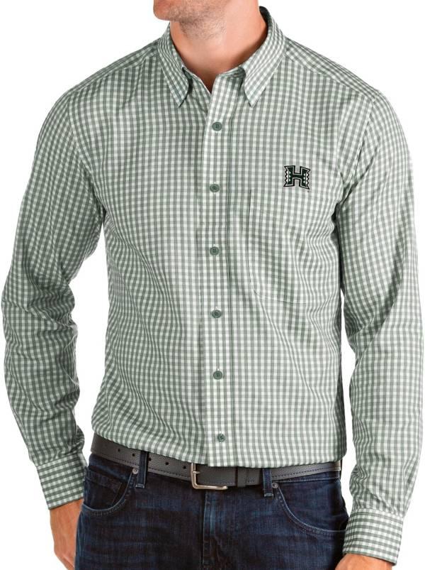 Antigua Men's Hawai'i Warriors Green Structure Button Down Long Sleeve Shirt product image