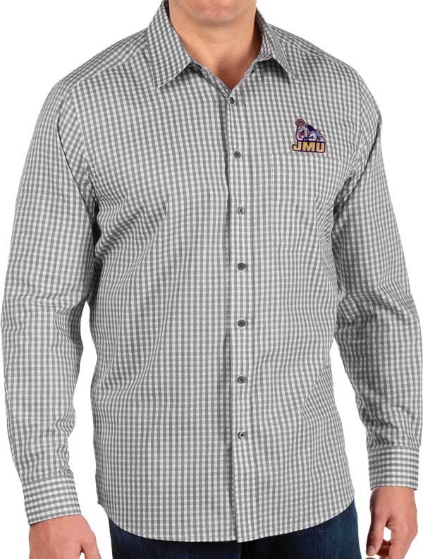 Antigua Men's James Madison Dukes Structure Button Down Long Sleeve Black Shirt product image