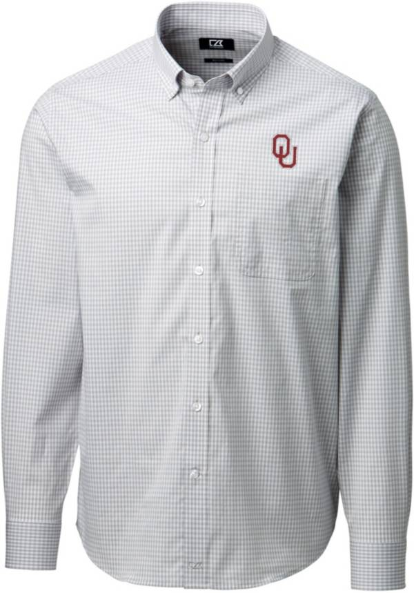 Cutter & Buck Men's Oklahoma Sooners Grey Anchor Gingham Long Sleeve Button Down Shirt product image