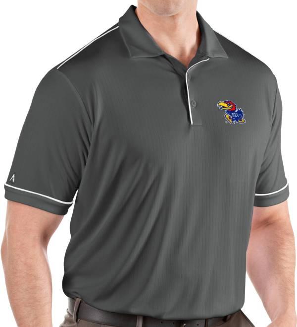 Antigua Men's Kansas Jayhawks Grey Salute Performance Polo product image