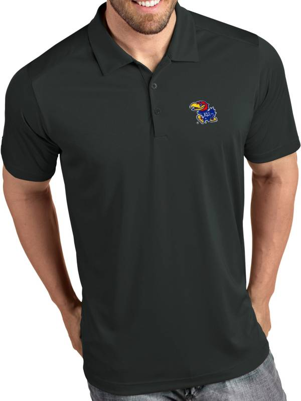 Antigua Men's Kansas Jayhawks Grey Tribute Performance Polo product image