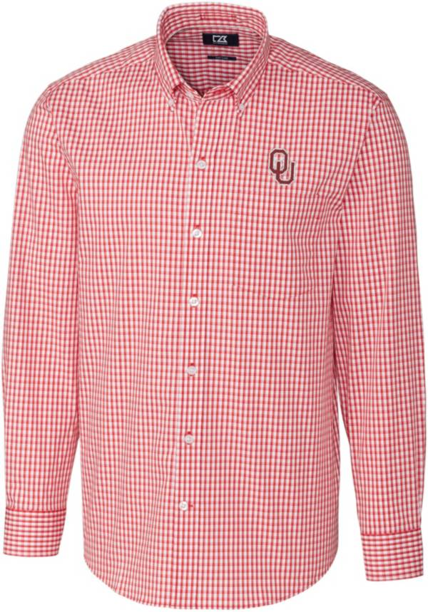 Cutter & Buck Men's Oklahoma Sooners Crimson Stretch Gingham Long Sleeve Button Down Shirt product image