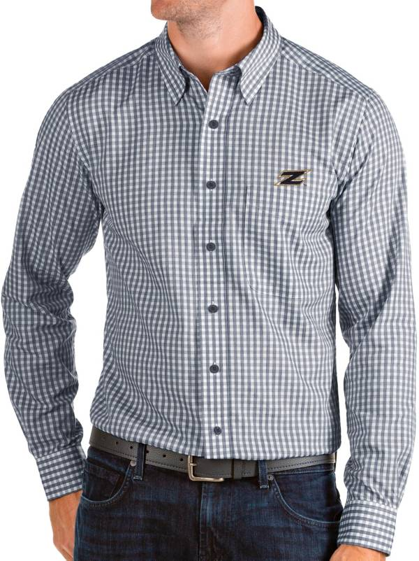 Antigua Men's Akron Zips Navy Structure Button Down Long Sleeve Shirt product image