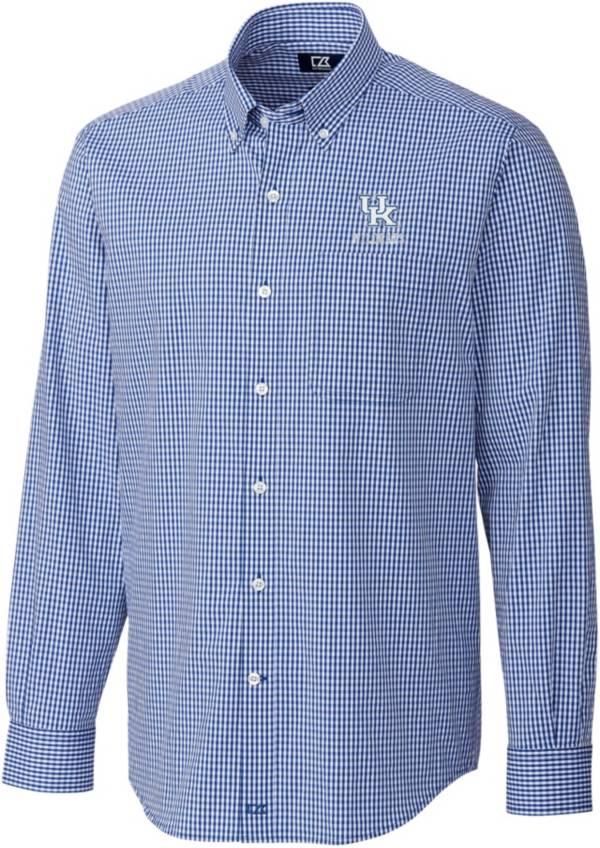 Cutter & Buck Men's Kentucky Wildcats Blue Anchor Gingham Long Sleeve Button Down Shirt product image
