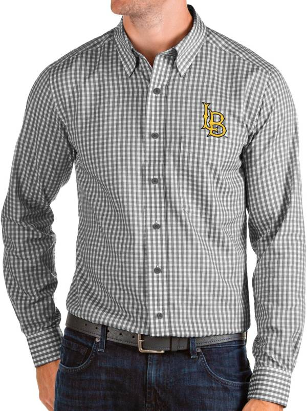Antigua Men's Long Beach State 49ers Structure Button Down Long Sleeve Black Shirt product image