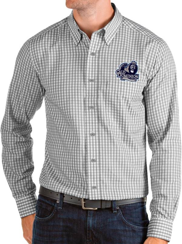 Antigua Men's Old Dominion Monarchs Grey Structure Button Down Long Sleeve Shirt product image