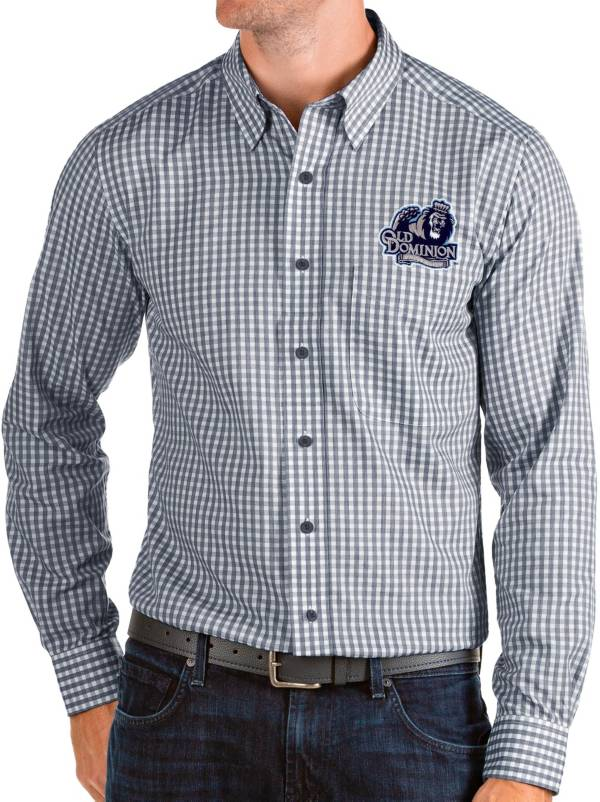 Antigua Men's Old Dominion Monarchs Blue Structure Button Down Long Sleeve Shirt product image