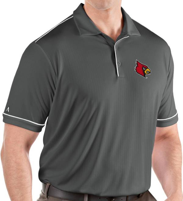 Antigua Men's Louisville Cardinals Grey Salute Performance Polo product image