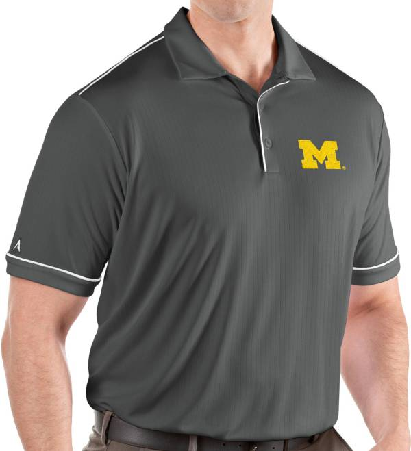 Antigua Men's Michigan Wolverines Grey Salute Performance Polo product image