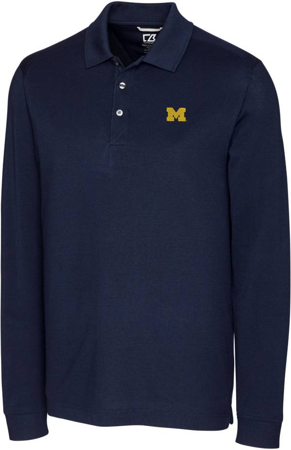 Cutter & Buck Men's Michigan Wolverines Blue Advantage Long Sleeve Polo product image