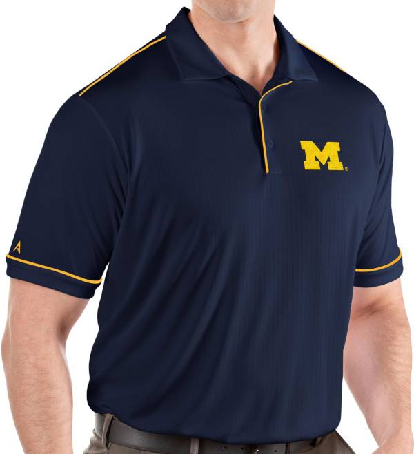 Antigua Men's Michigan Wolverines Blue Salute Performance Polo product image