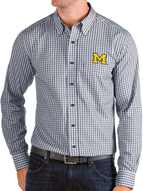Antigua Men's Michigan Wolverines Blue Structure Button Down Long Sleeve Shirt product image