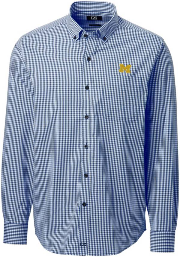 Cutter & Buck Men's Michigan Wolverines Blue Anchor Gingham Long Sleeve Button Down Shirt product image
