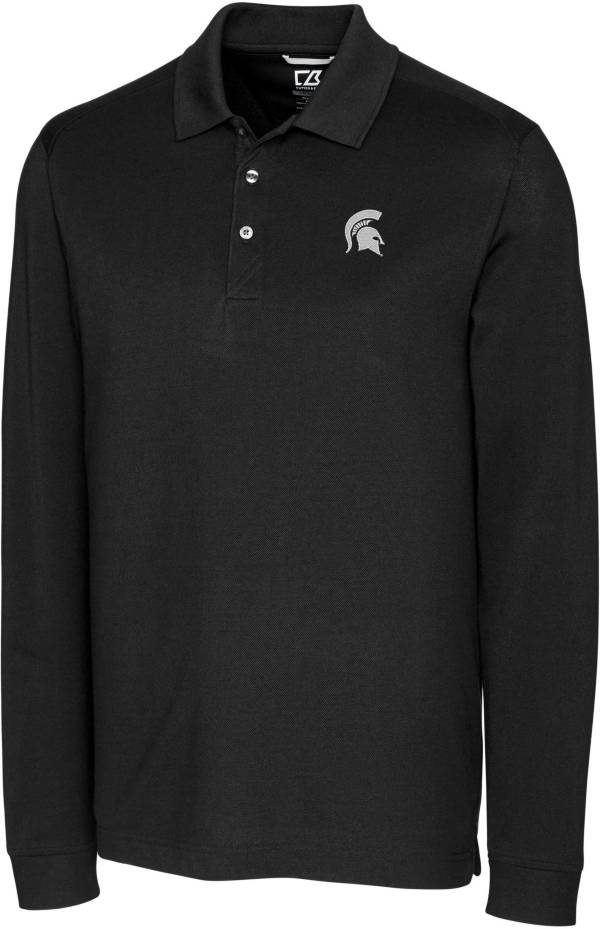 Cutter & Buck Men's Michigan State Spartans Advantage Long Sleeve Black Polo product image