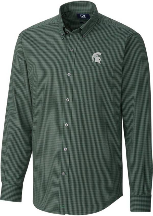 Cutter & Buck Men's Michigan State Spartans Green Anchor Gingham Long Sleeve Button Down Shirt product image