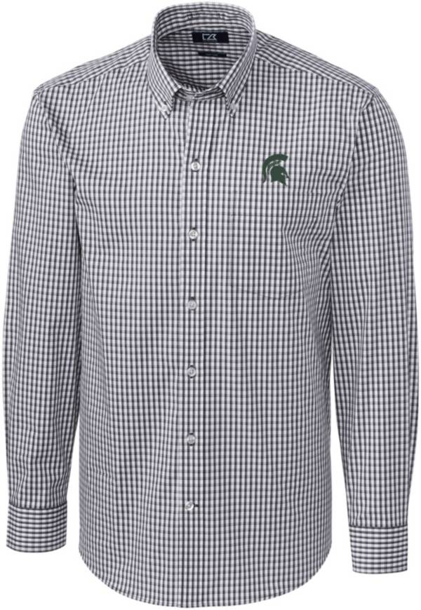 Cutter & Buck Men's Michigan State Spartans Grey Stretch Gingham Long Sleeve Button Down Shirt product image