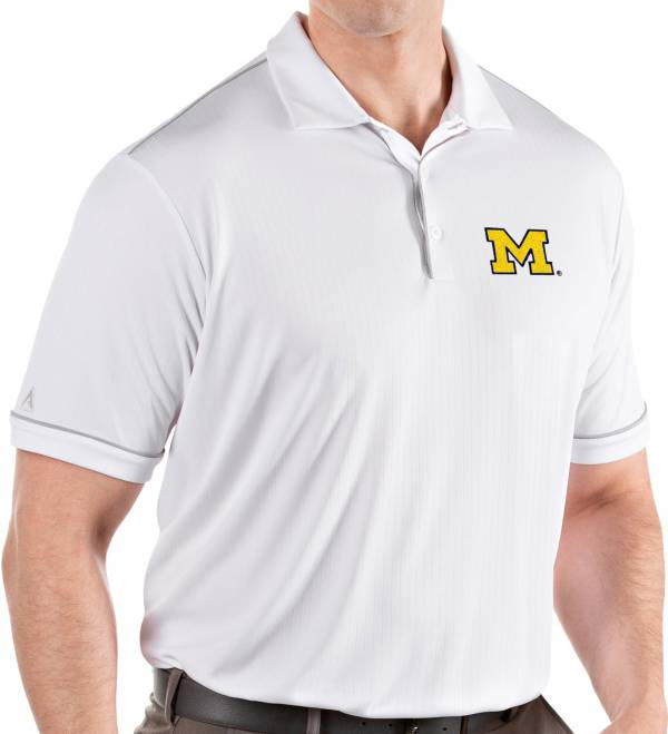 Antigua Men's Michigan Wolverines Salute Performance White Polo product image