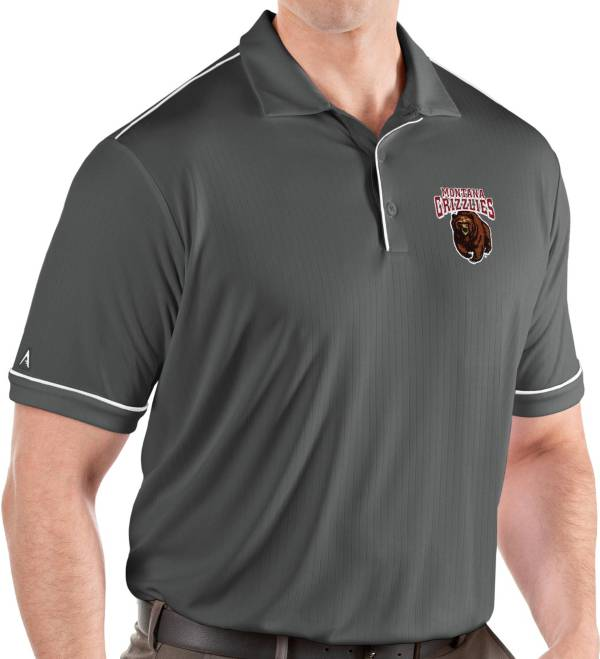 Antigua Men's Montana Grizzlies Grey Salute Performance Polo product image