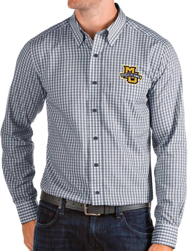 Antigua Men's Marquette Golden Eagles Blue Structure Button Down Long Sleeve Shirt product image