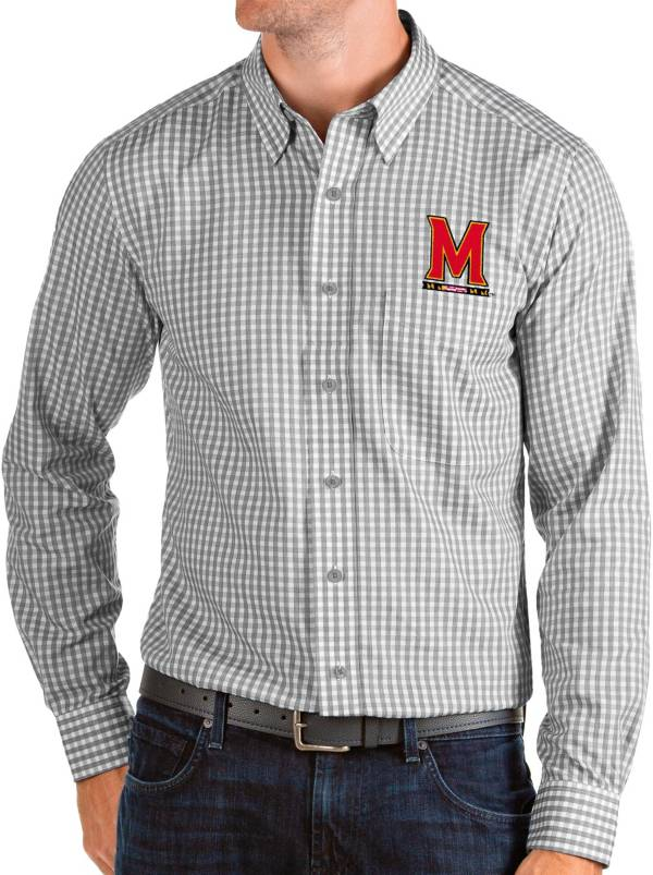 Antigua Men's Maryland Terrapins Grey Structure Button Down Long Sleeve Shirt product image
