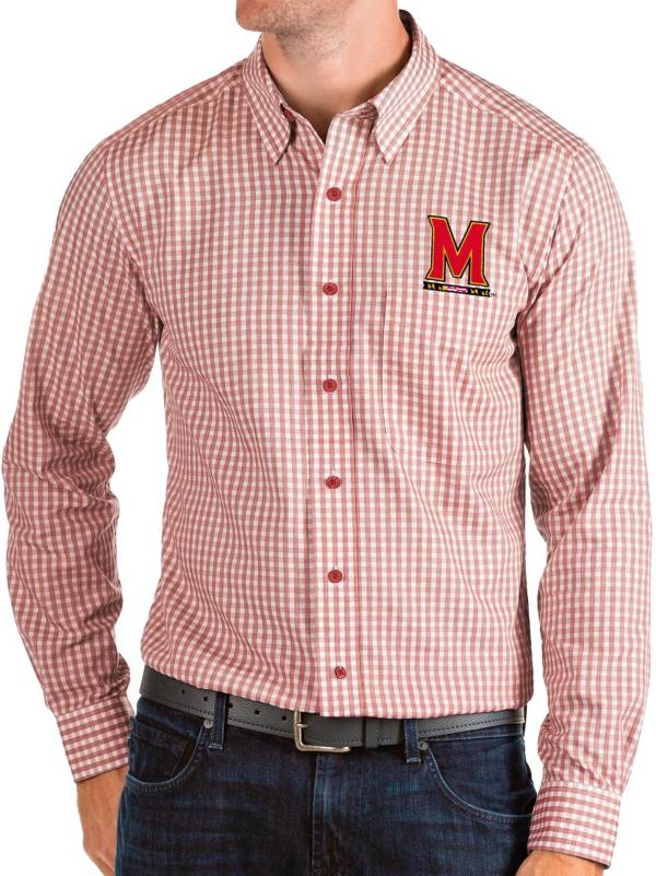 Antigua Men's Maryland Terrapins Red Structure Button Down Long Sleeve Shirt product image