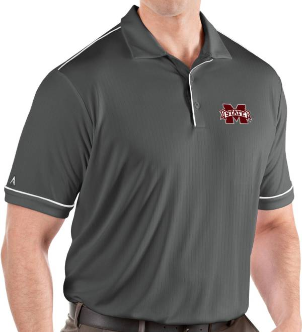 Antigua Men's Mississippi State Bulldogs Grey Salute Performance Polo product image