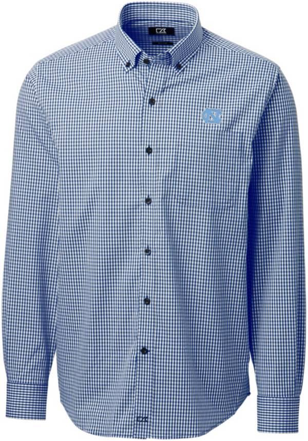 Cutter & Buck Men's North Carolina Tar Heels Navy Anchor Gingham Long Sleeve Button Down Shirt product image