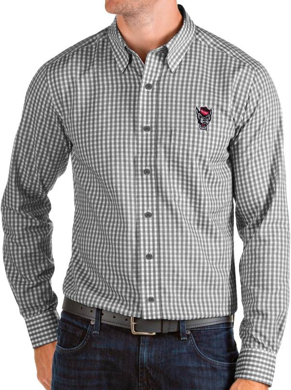 Antigua Men's NC State Wolfpack Structure Button Down Long Sleeve Black Shirt product image
