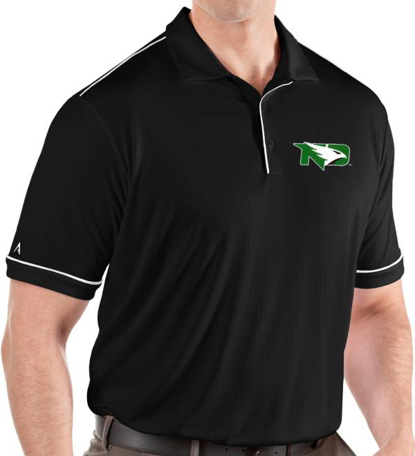 Antigua Men's North Dakota Fighting Hawks Salute Performance Black Polo product image