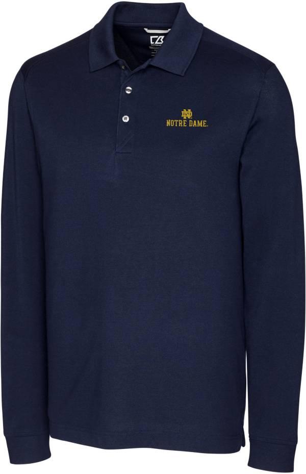 Cutter & Buck Men's Notre Dame Fighting Irish Navy Advantage Long Sleeve Polo product image