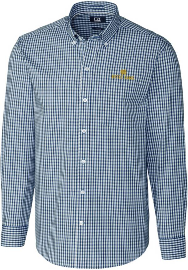 Cutter & Buck Men's Notre Dame Fighting Irish Navy Stretch Gingham Long Sleeve Button Down Shirt product image